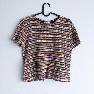 Zara Trafaluc Short Sleeve Knit Tee Yellow Red M